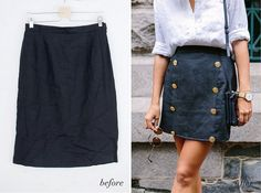 BEFORE & AFTER: THE NAUTICAL BUTTON SKIRT