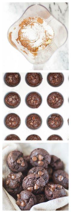 chocolate, peanut butter, avocado blender muffins