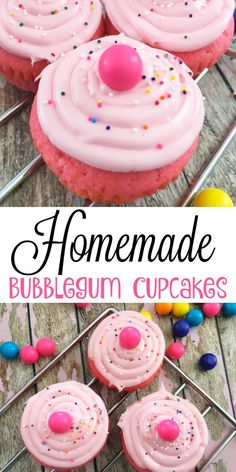 Homemade Bubblegum Cupcakes - A Spark of Creativity (Cupcake Recipes Unique) Oreo Cupcakes, Yummy Cupcakes, Cupcake Cookies, Bubble Gum Cupcakes, Cupcake Party, Cotton Candy Cupcakes, Frost Cupcakes, Cupcakes Kids, Cupcake Candle