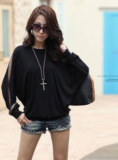 Black Classy Round Neckline Long Sleeve T-Shirt