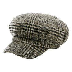 Pattern C Vintage Houndstooth Pattern Embellished Newsboy Hat ($8.10) ❤ liked on Polyvore featuring accessories, hats, print hats, houndstooth hat, newsboy cap, pattern hats and gatsby cap