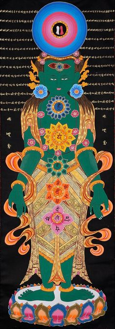 Tibetan Thangka Painting - The Kundalini Chakras in Human Body Chakra Painting, Chakra Art, Tibetan Art, Tibetan Buddhism, Chakras In Human Body, Buddhism Symbols, Thangka Painting, Buddha Art, Chakra Meditation