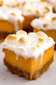 Sweet Potato Marshmallow Bars Are For Everyone Who Hates Pumpkin Pie 13 Sweet Potato Dessert Recipes: Healthy Holiday Sweets Brownie Desserts, Holiday Desserts, Holiday Baking, Just Desserts, Delicious Desserts, Dessert Recipes, Marshmallow Desserts, Autumn Desserts, Pie Recipes