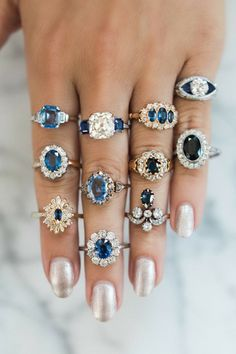 Sapphire Engagement Rings and Engagement Rings with Sapphire accents make the prettiest of rings! Plus, when they are vintage engagement rings, they are even better! #GlitterFashion