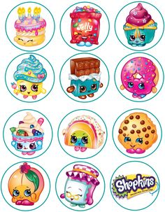 Shopkins Edible Image Cupcake Toppers by ShoreCakeSupply on Etsy - Modernes Fete Shopkins, Shopkins Bday, Shopkins Characters, Shopkins And Shoppies, Bottle Cap Crafts, Bottle Cap Images, Candyland, Cupcake Toppers, Kids
