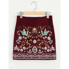 SheIn(sheinside) Botanical Embroidered Cord Skirt (24 BAM) via Polyvore featuring skirts, burgundy, red floral skirt, zip skirt, corduroy skirt, cord skirt i embellished skirts