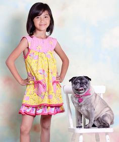 Unik Baby Boutique - Jelly The Pug Yellow & Pink Nature Sailor Dress