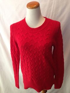J. CREW red angora blend cableknit Crewneck Sweater Medium M #JCrew #JCrewAddict #sweater #prep #preppy
