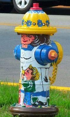 """Oldenburg, Indiana Fire Hydrants """"Mother with children"""" Murals Street Art, Street Art Graffiti, Mural Art, Fire Equipment, Unusual Art, Fire Dept, Outdoor Art, Fire Hydrants, Custom Paint"""