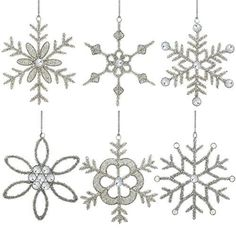 Set of 6 Handmade Snowflake Iron and Glass Pendant Christmas Ornaments 6 Inches >>> Read more  at the image link.