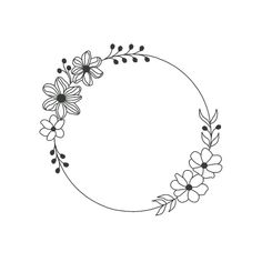 Hand Embroidery Patterns Flowers, Hand Embroidery Flowers, Embroidery Designs, Bullet Journal Lettering Ideas, Flower Frame, Doodles, Cricut, Drawing, Floral
