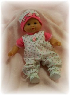"Too cute rose bud romper. Handmade outfit for Corolle Tidoo, Calin Yang or other soft body 12"" dolls.. Can be purchased from Sweet Pea Doll Clothes.."