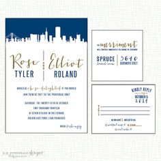 Wedding Invitation - City Skyline Design, Destination Wedding Invite, Modern Urban, New York, San Francisco, Paris, London - SAMPLE
