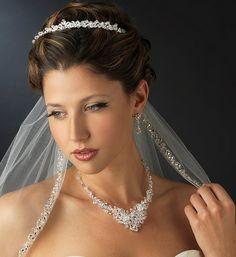 Crystal and Rhinestone Wedding Tiara and Bridal Jewelry Set