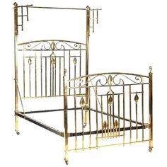 For Sale on - An Arts and Crafts lacquered cast brass half tester double bedstead, with stylised plant and floral details to the head and foot board. With lattice swing Oak Double Bed, Double Beds, Red Bedding, Bedding Shop, Luxury Bedding, Cool Furniture, Bedroom Furniture, Furniture Design, Oak Wardrobe
