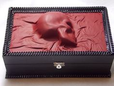 Goth Skull Leather Jewelry Box Storage Organizer One Of A Kind Handmade Witch…