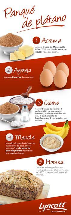 Panqué de plátano #RecetaFácil #Postre #Plátano #Saludable #Delicioso