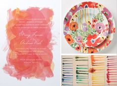 watercolor wedding theme. painterly brushstrokes infused with color.
