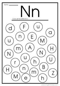Letter N Worksheet, Free Printable Alphabet Worksheets, Fun Worksheets For Kids, Printable Alphabet Letters, Preschool Worksheets, Reading Worksheets, Kindergarten Lessons, Kindergarten Writing, Alphabet Coloring Pages