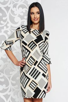 StarShinerS grey short cut dress with tented cut with 3/4 sleeves thin fabric with geometrical print, inside lining, tented cut, 3/4 sleeves, elastic fabric, thin fabric