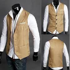 mens khaki suit vest -