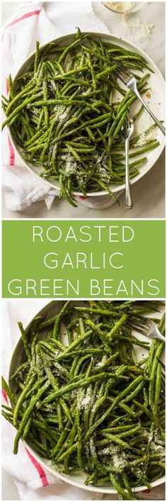 Roasted Garlic Green Beans - only 4 ingredients to make these addictive green beans! | littlebroken.com @littlebroken