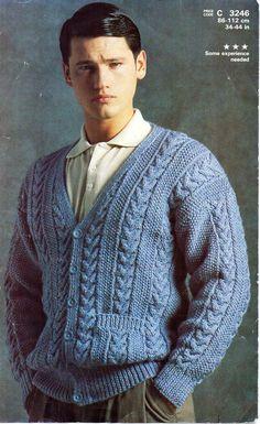 mens aran cardigan knitting pattern PDF mens aran jacket v neck pockets cable…