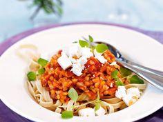 lite matigare vegetarisk sås till pasta
