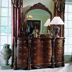 Two Piece and Mirror Dresser, Edwardian by Pulaski Furniture