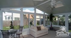 White Vinyl Frame All Season Room with Gable Roof and Glass Roof Panels