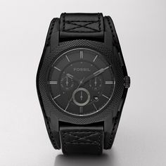 Fossil Machine Cuff Leather Watch - Black