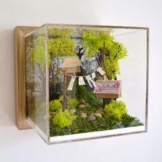 Washing | miniature landscape | diorama | postage stamp house