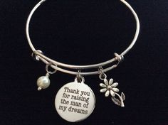Mother In Law Charm Bangle Adjustable Expandable Thank you for Raising the Man of My Dreams Meaningful Wedding Gift