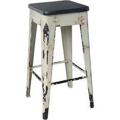 This distressed style barstool has that industrial look that will complement any traditional or rustic decor style. Includes: One (1) Bar stool Finish: Distressed white Materials: Metal Dimensions: 29