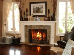 Living Room With Fireplace And Windows diy plantation shutters | living rooms, room and window