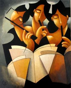 Theo Booth (Barcelona based painter, b. 1947) - The Flute Players