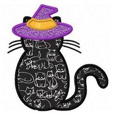 Black Cat 1 Applique - 2 Sizes! | What's New | Machine Embroidery Designs | SWAKembroidery.com Fun Stitch