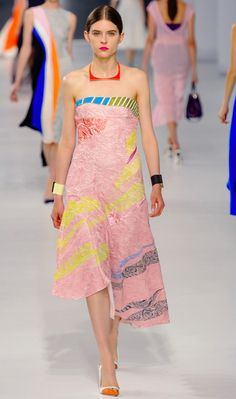 Christian Dior - Resort 2014 Pink strapless dress with bright color splashes