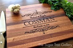 Personalized Cutting Board Engraved Wood by SugarTreeGallery, $43.95