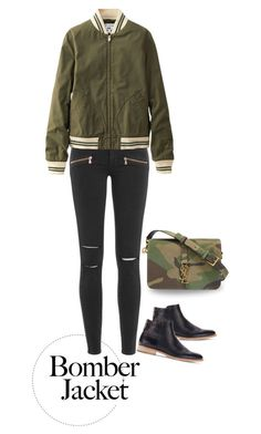 """""""Untitled #344"""" by taz7568 ❤ liked on Polyvore featuring Paige Denim, Uniqlo, Yves Saint Laurent, women's clothing, women, female, woman, misses, juniors and bomberjackets"""
