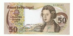 PORTUGAL,50 ESCUDOS,SERIES 1968-1982 ISSUE (1968), CIRCULATED BANKNOTE (VF)