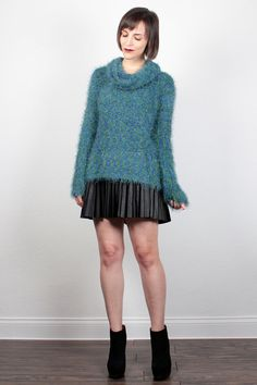 Vintage 90s Sweater Furry Fuzzy Fluffy Textured Knit Jumper High Neck Techno Sweater Club Kid Cyber Knit Empire Records Blue Green L Large by ShopTwitchVintage #vintage #etsy #90s #1990s #clubkid #furry #fuzzy #sweater #jumper