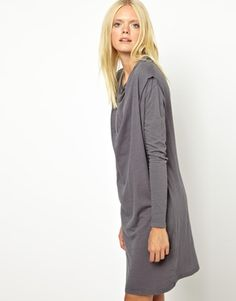 American Vintage Washed Dress with Cowl Neck in Oversized Shape