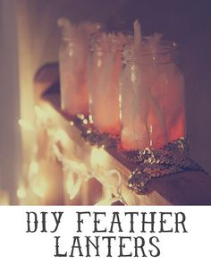 DIY Feather lanterns by Katie on the Skunkboy Creatures blog