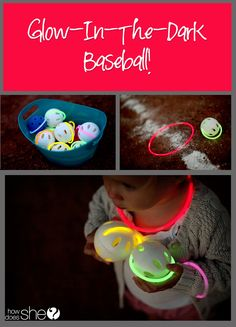 Glow in the dark baseball!! This would be a blast for a family night, family reunion, group date night, etc... Love her ideas! #baseball #glowinthedark #howdoesshe