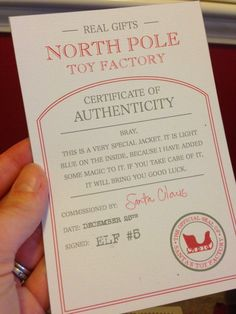 Rivka's Renditions: Santa's Toy Factory Certificate of Authenticity