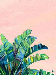 Krista Skehan's colourful paintings that collide with a love of California coast. - Krista Skehan's colourful paintings that collide with a love of California coastal cool Plant Painting, Plant Art, Aesthetic Painting, Aesthetic Art, Painting Inspiration, Art Inspo, Colorful Paintings, Palm Tree Paintings, Tropical Paintings
