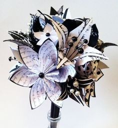 Origami flowers & lilies wedding bouquet. A personalized, one of a kind, non traditional, alternative wedding bouquet.