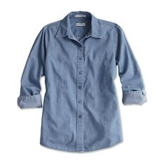 Washed-denim Shirt ($79) ❤ liked on Polyvore featuring tops, shirts, blouses, side slit shirt, shirts & tops, long denim shirt, relaxed fit shirt and long shirts