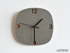 Concrete and Wood - Square Wall Clock-Modern Wall Clock Concrete Wood, Concrete Design, Grey Clocks, Wood Square, Wood Grain, Wood Wall, Quartz, Batch Production, Discount Shopping